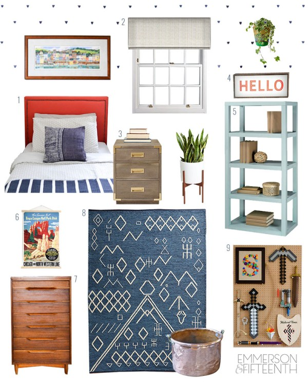 Mood Board - A Colorful Midcentury Global Boys Room with key