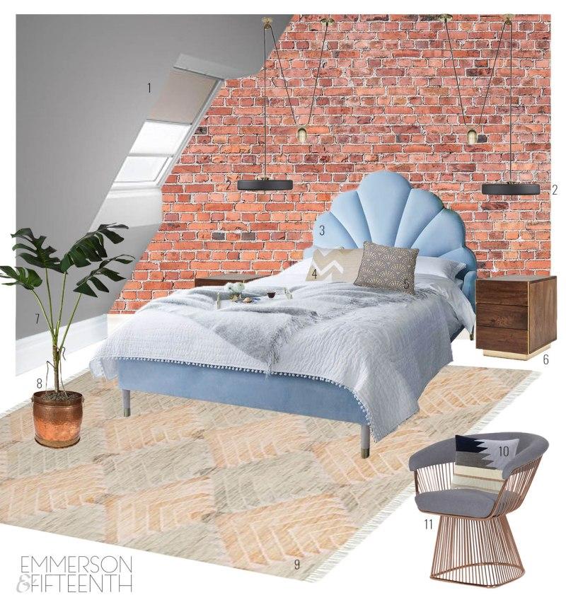 Mood Board - Industrial Art Deco Eaves Bedroom
