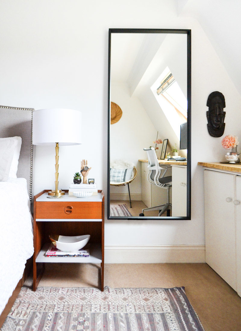 Summer Eclectic Home Tour - midcentury bedside table