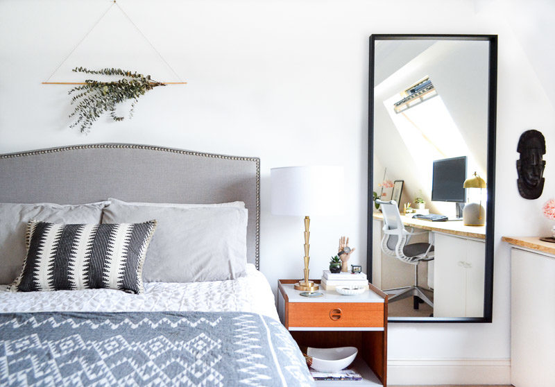 Neutral master bedroom: Summer 17 Eclectic Home Tour