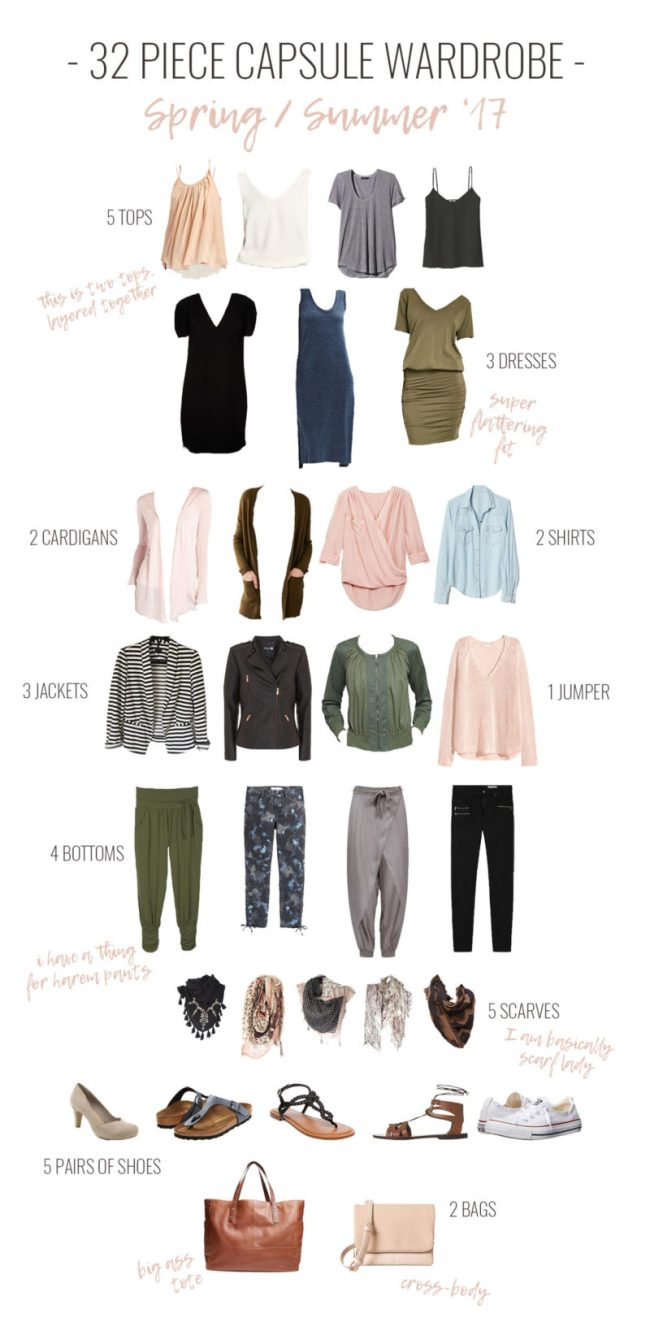 32 Piece Capsule Wardrobe in Olive Green, Blush Pink, Navy and Neutrals