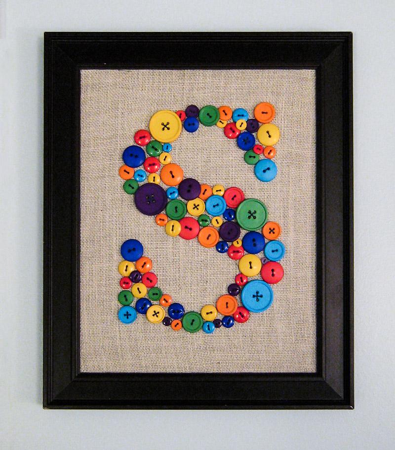 DIY Wall Art for Kids Room - Button Monogram Tutorial - S