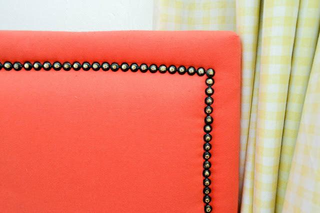 Close up of DIY Upholstered Bed - Blue Red Mint Kids Room - Shared Kids Room Reveal - One Room Challenge