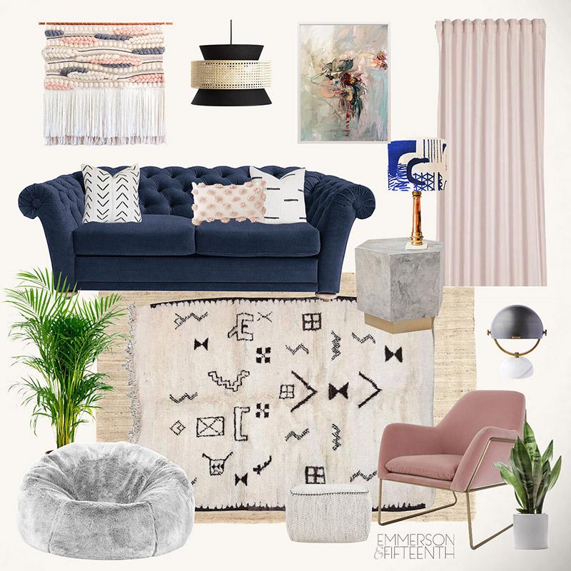 Blush pink global living room mood board