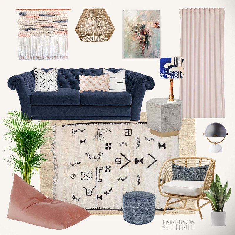 Blush pink global living room mood board with rattan