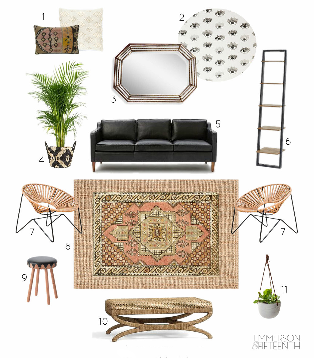 Interior Design mood board - neutral masculine living room
