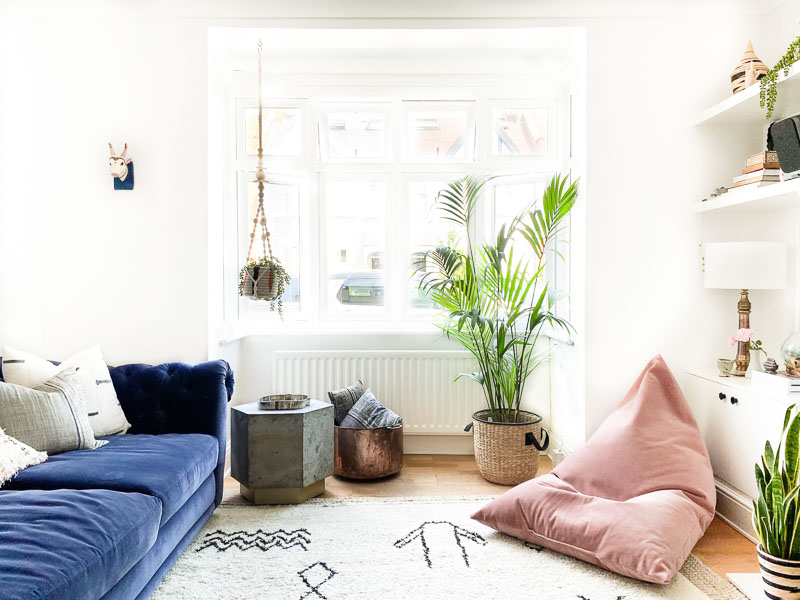Beni Ourain rug & blush pink bean bag in Edwardian living room makeover
