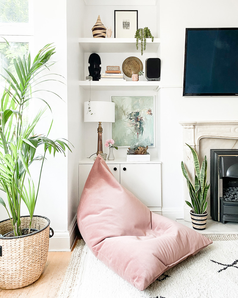 air purifying house plants in living room interior design