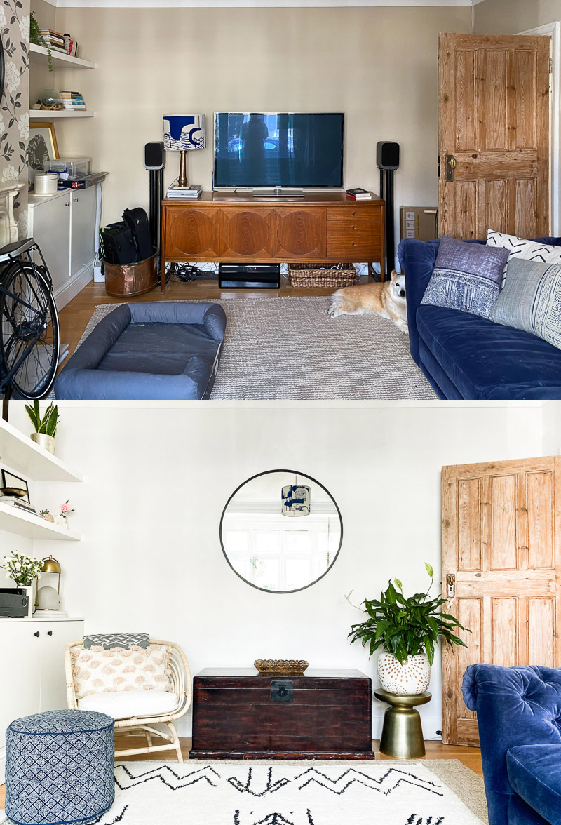Global eclectic living room design before & after