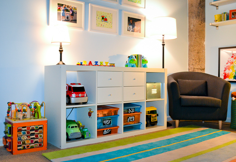 Bright toddler bedroom in industrial loft