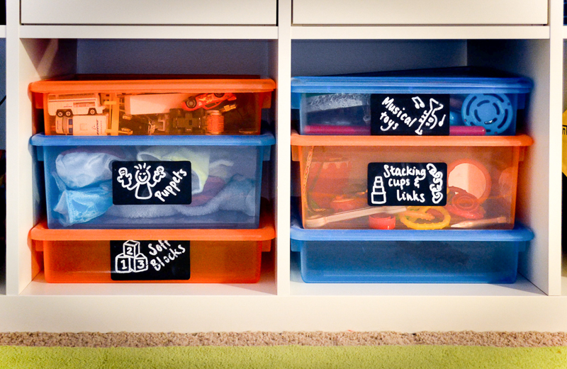 Plastic toy storage bins with chalkboard labels