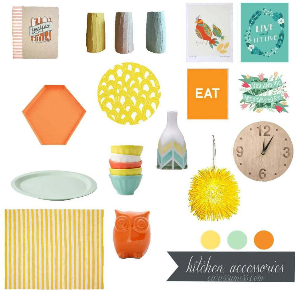 Orange, yellow and aqua kitchen accessories mood board