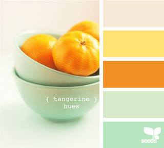 Mood board inspiration image with tangerine orange and mint aqua colour palette