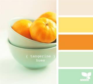 Mood board inspiration image with tangerine orange and mint aqua colour palette