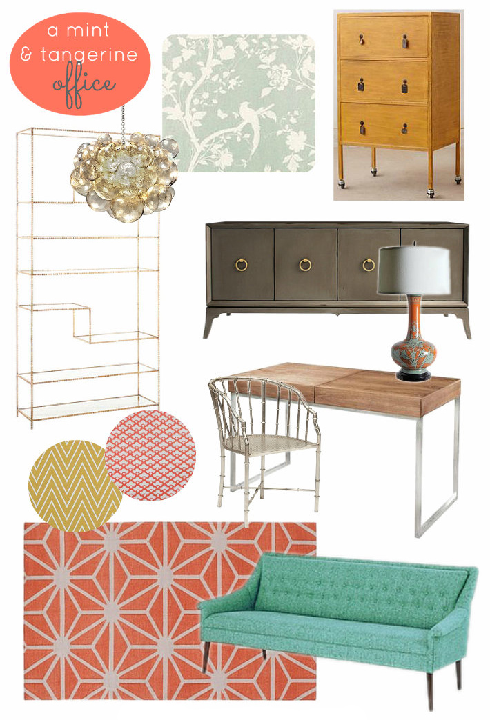 Tangerine orange and mint office mood board