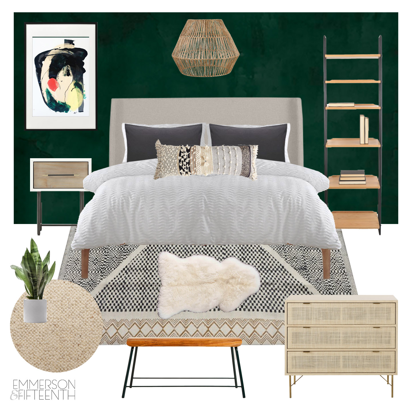 Boho Midcentury Green Bedroom Mood Board One Room Challenge
