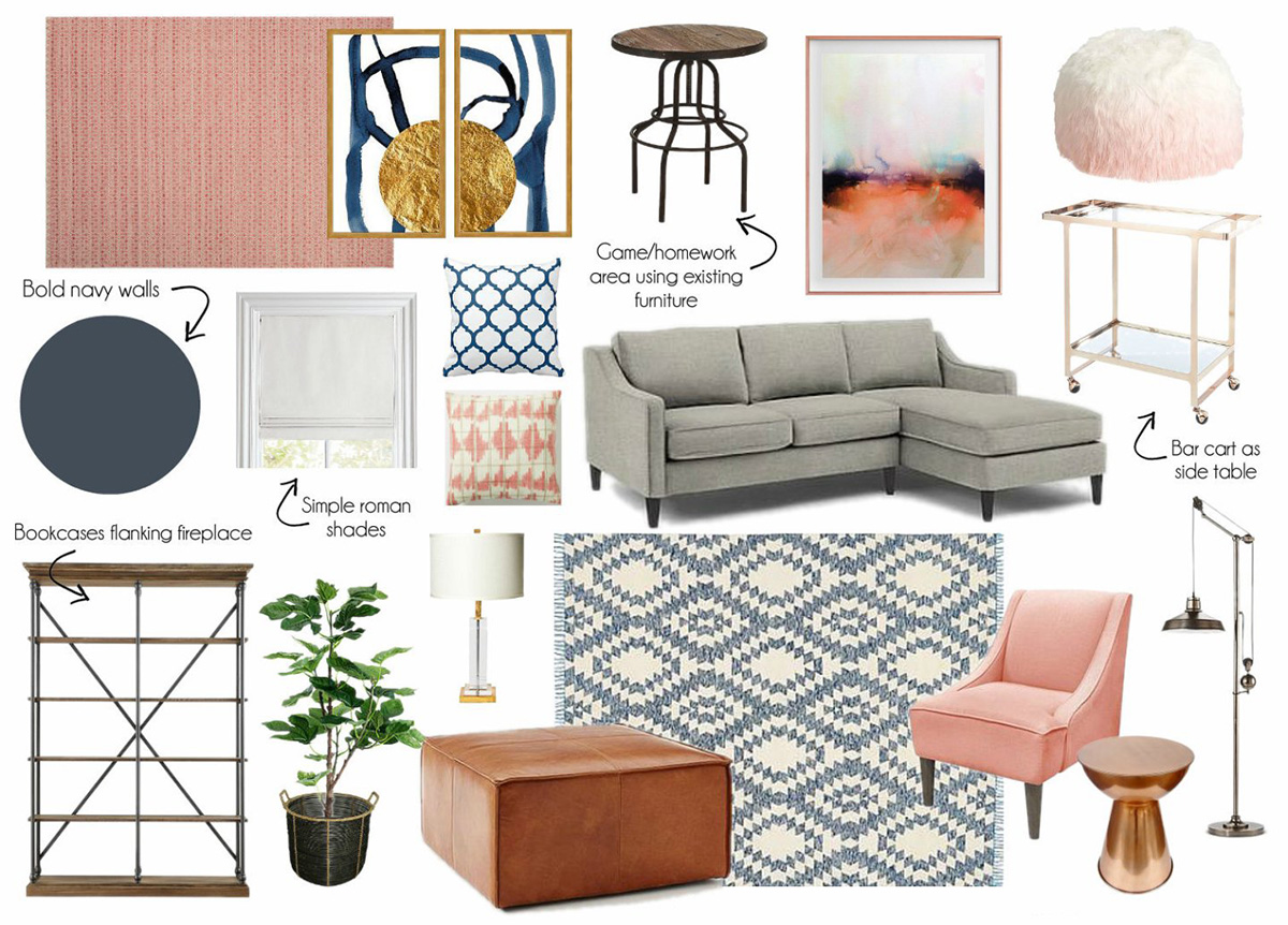 Blush Pink & Indigo Blue Family Media Room Design TV Room Emmerson & Fifteenth Mood Board
