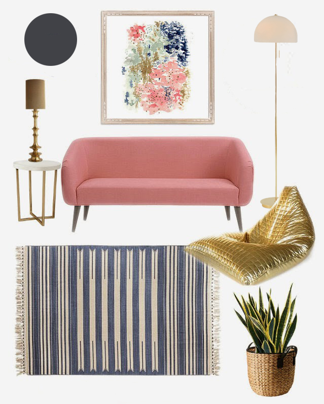 Feminine Living Room Design Mood Board with Gold Bean Bag