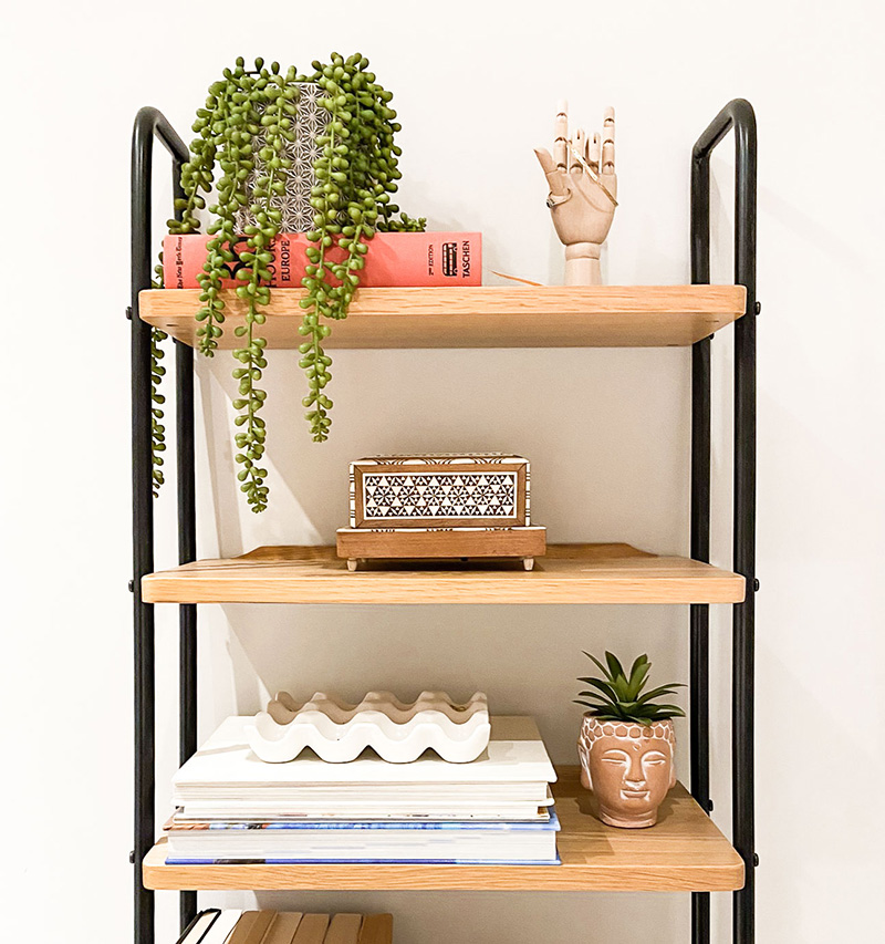 Shelfie bookcase shelf styling with faux plant