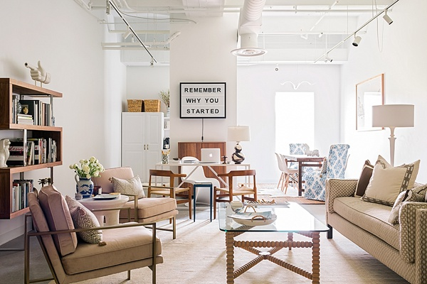 Seating Area in Blush Pink Brass Office by Waiting on Martha