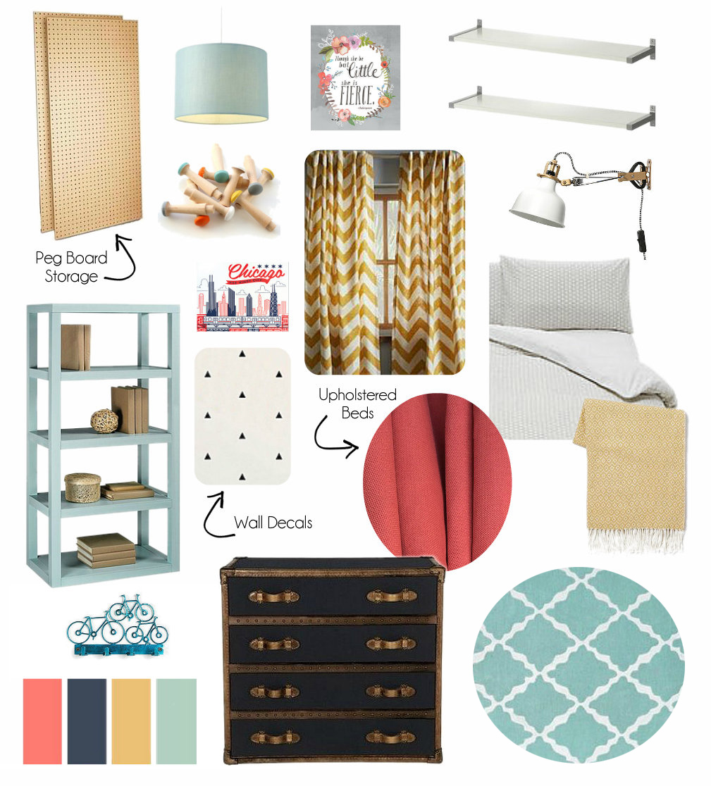 Bright Shared Kids Room Design Mood Board Girl Boy
