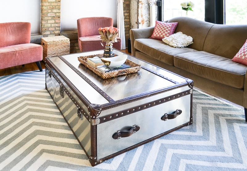 Industrial coffee table styling child friendly