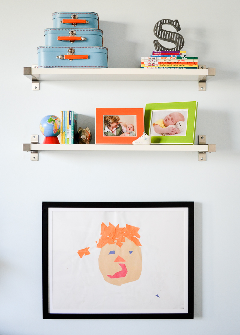 Wall mounted shelves and cabinet frame for displaying child's artwork