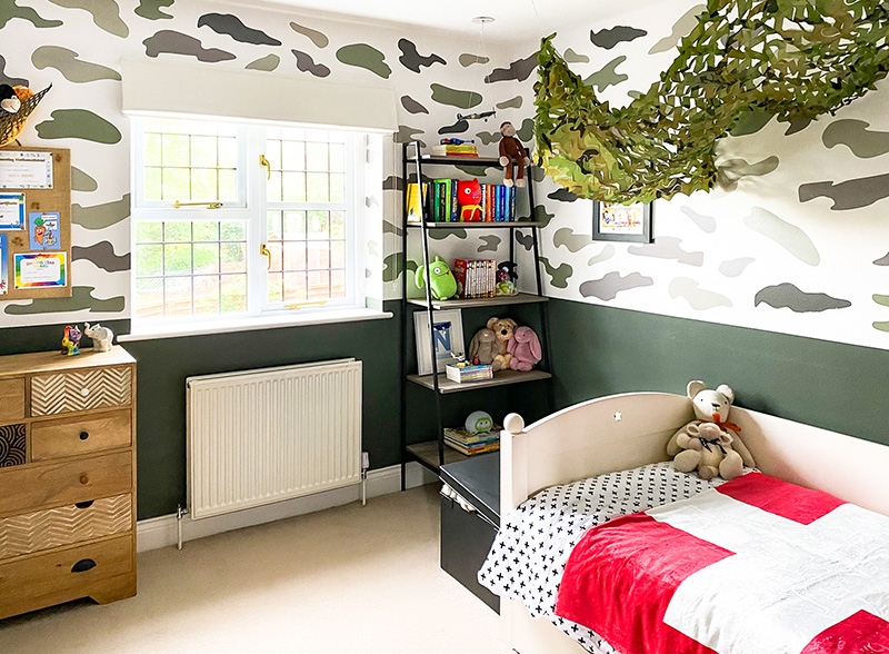 Olive green boys bedroom design