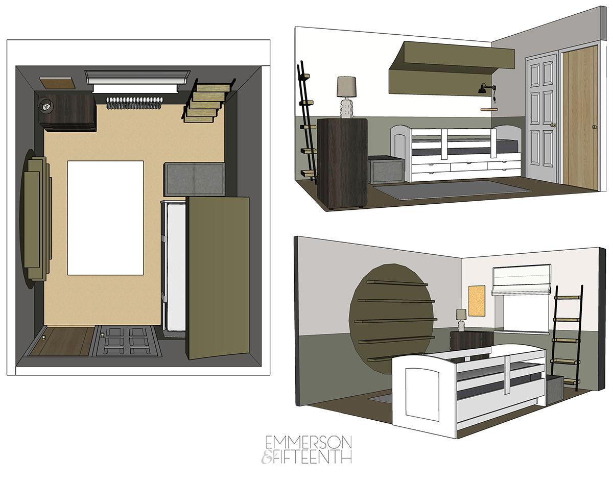 Camo Kids Bedroom - Layout