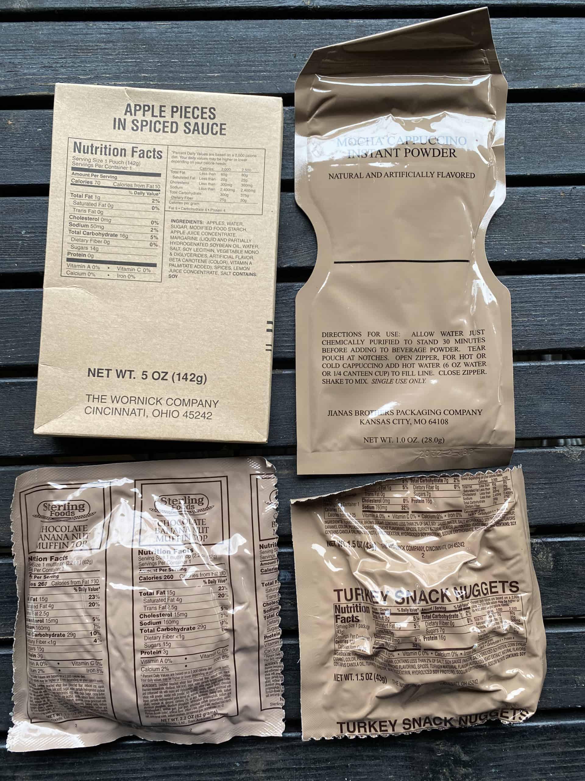 MRE snacks and dessert in tan packaging