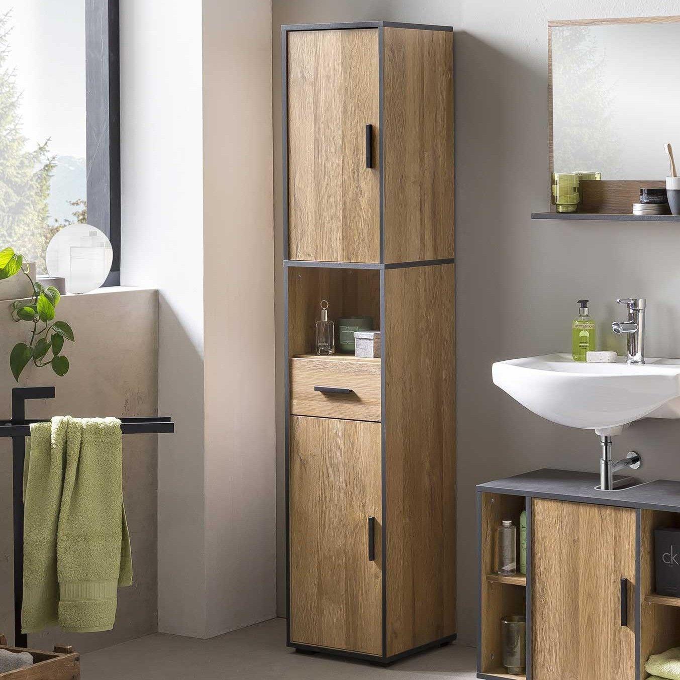 colonne salle de bains ariadna 2 portes 1 tiroir chene vieilli gris graphite