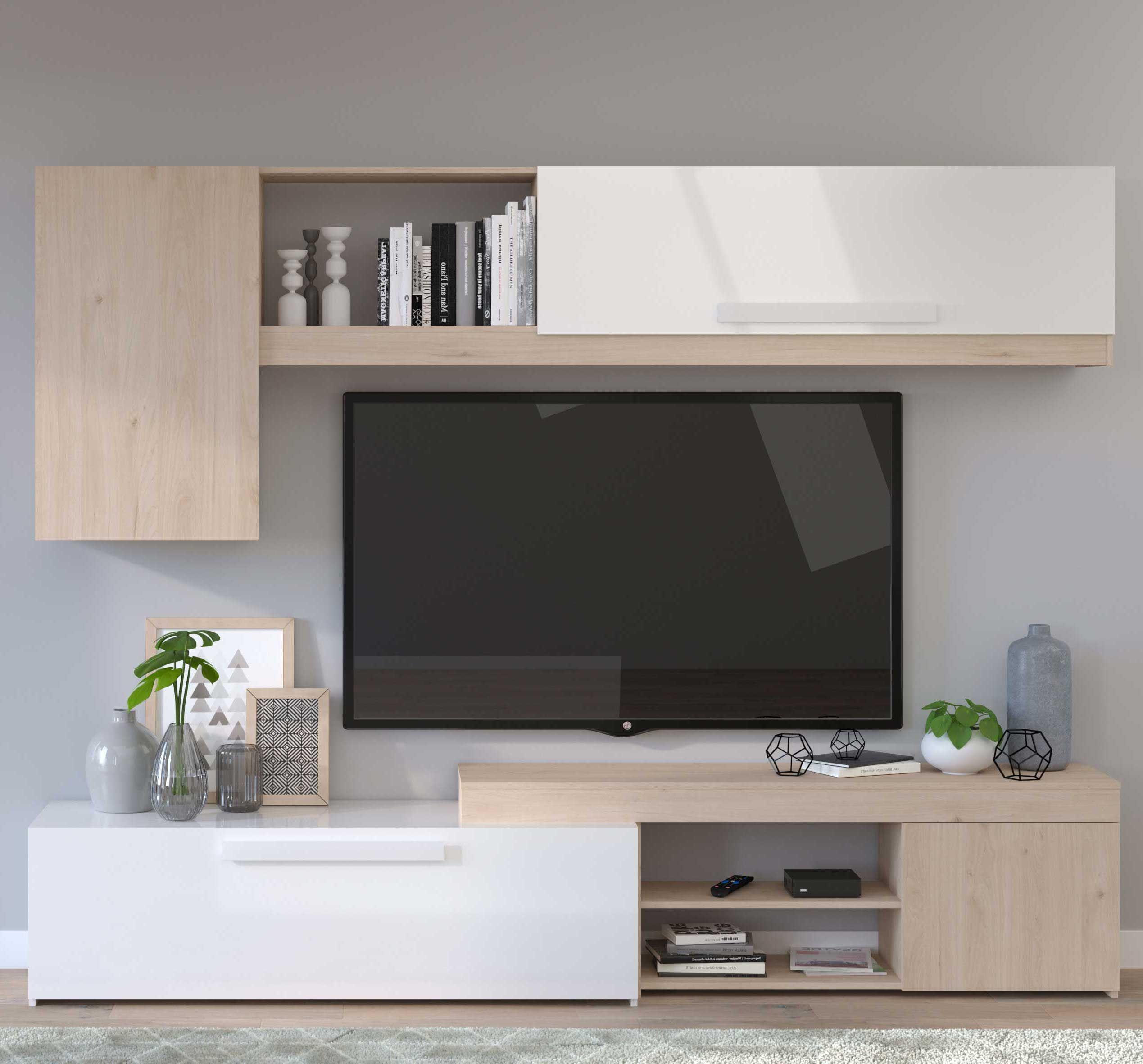 meuble tv live 250cm chene blanc brillant