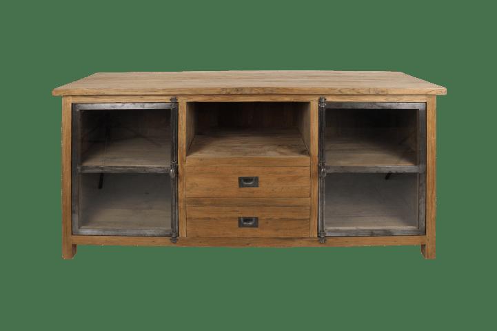 meuble tv hunter 160cm teck recycle fer