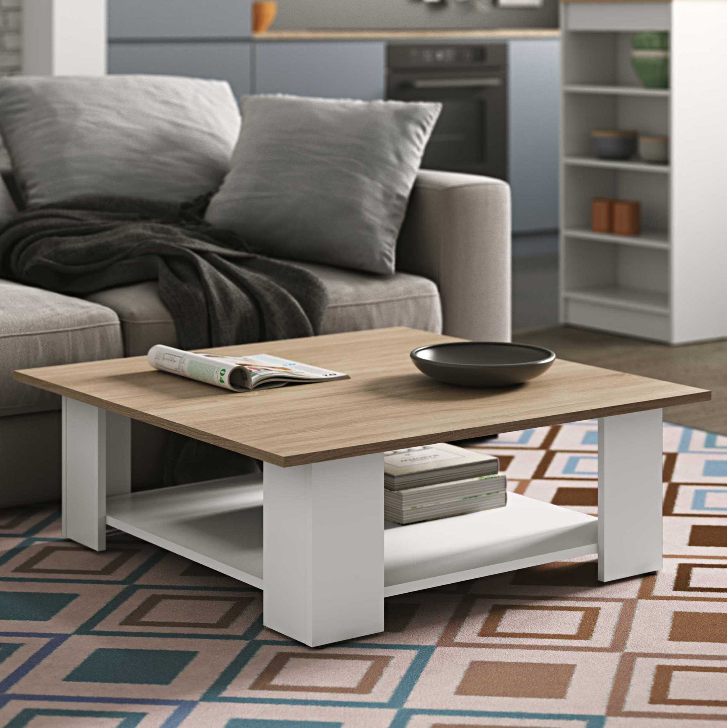 table basse square 67x67 blanc chene