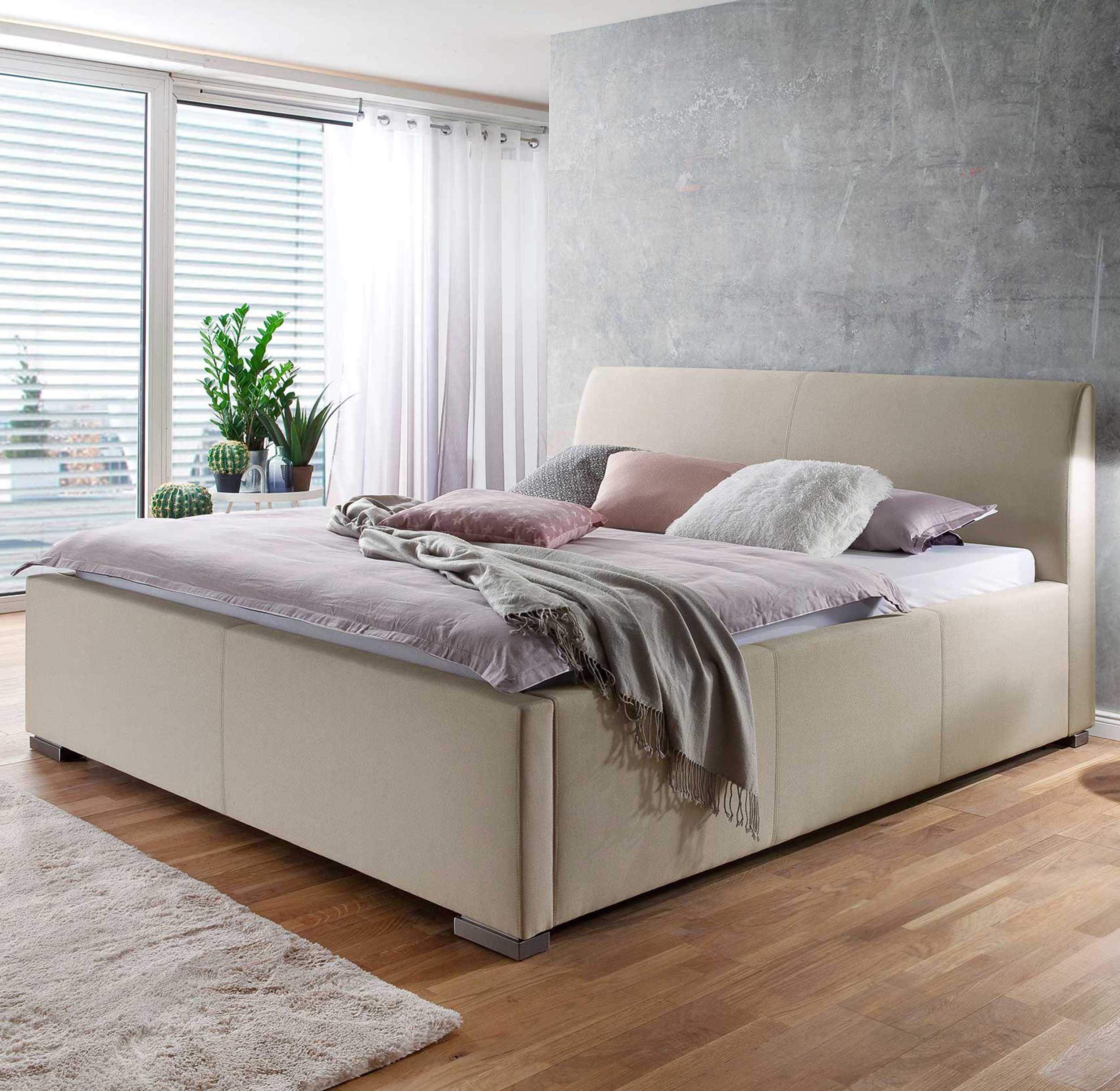 lit homera avec tete de lit lisse 120x200 beige