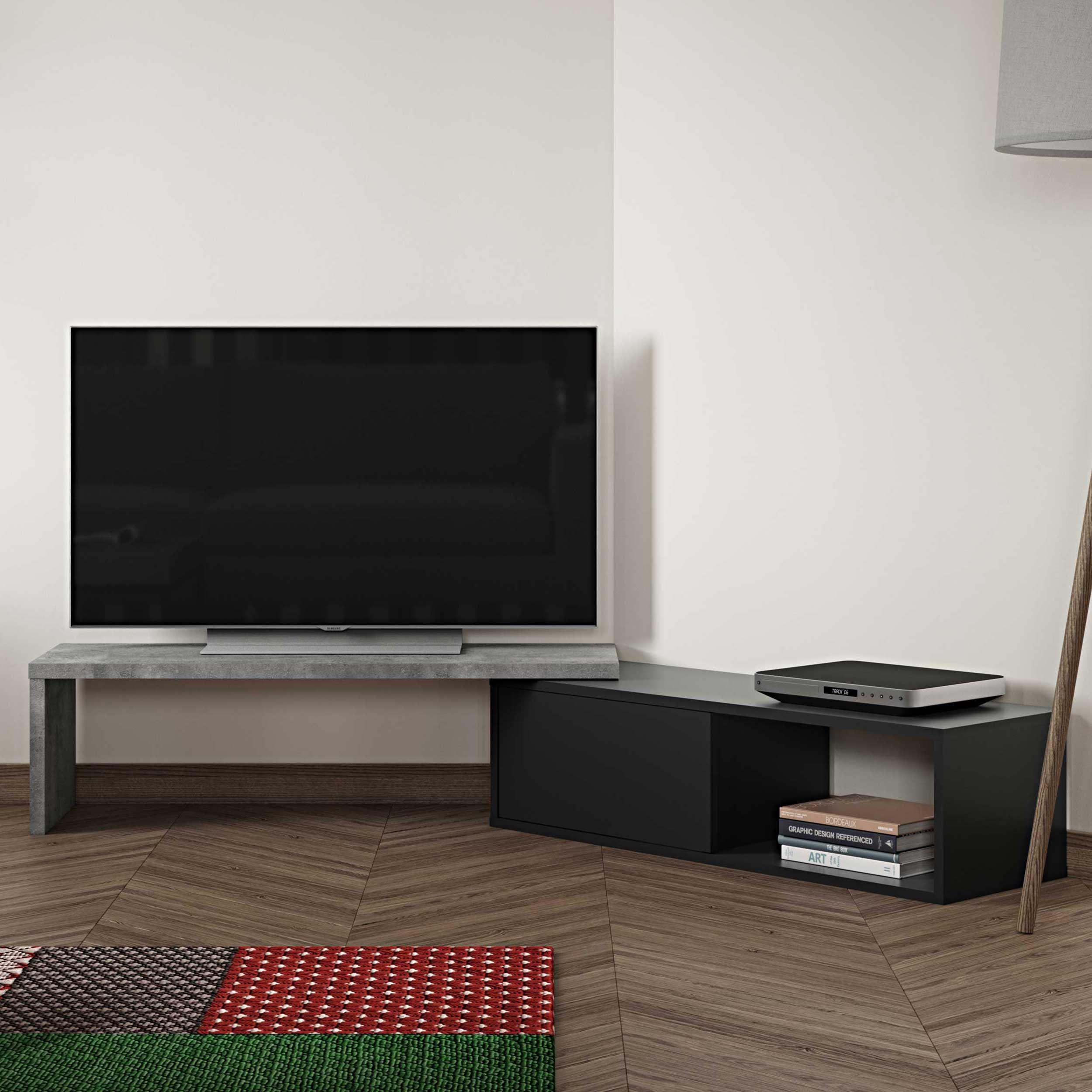 meuble tv movie 110cm beton noir