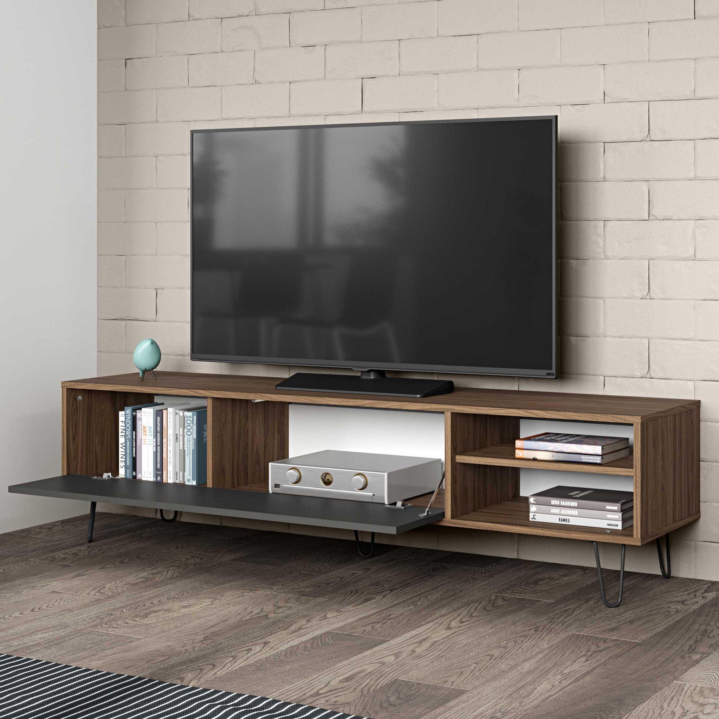 meuble tv jiro 165cm noyer anthracite