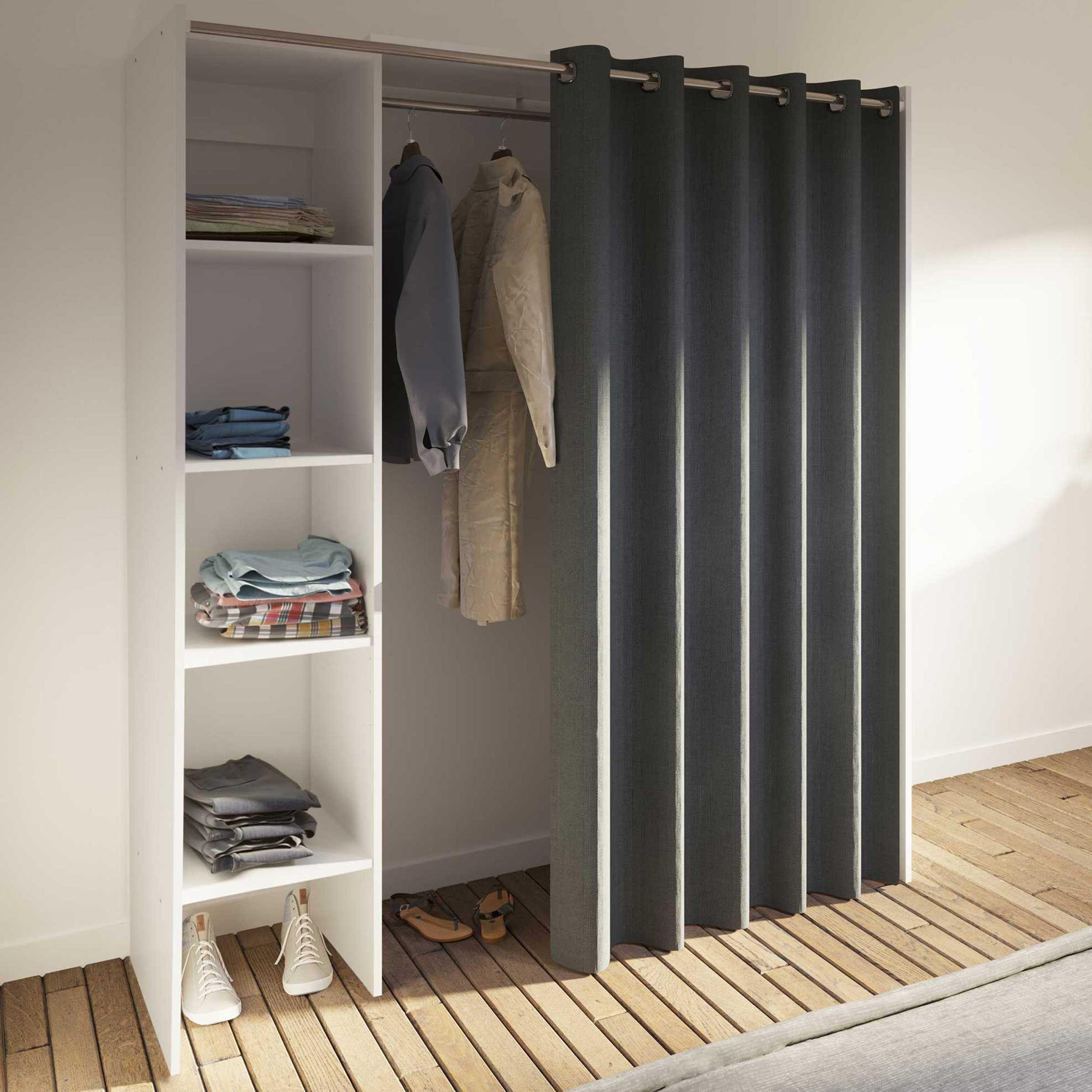 armoire spike 123 160cm avec rideau blanc gris