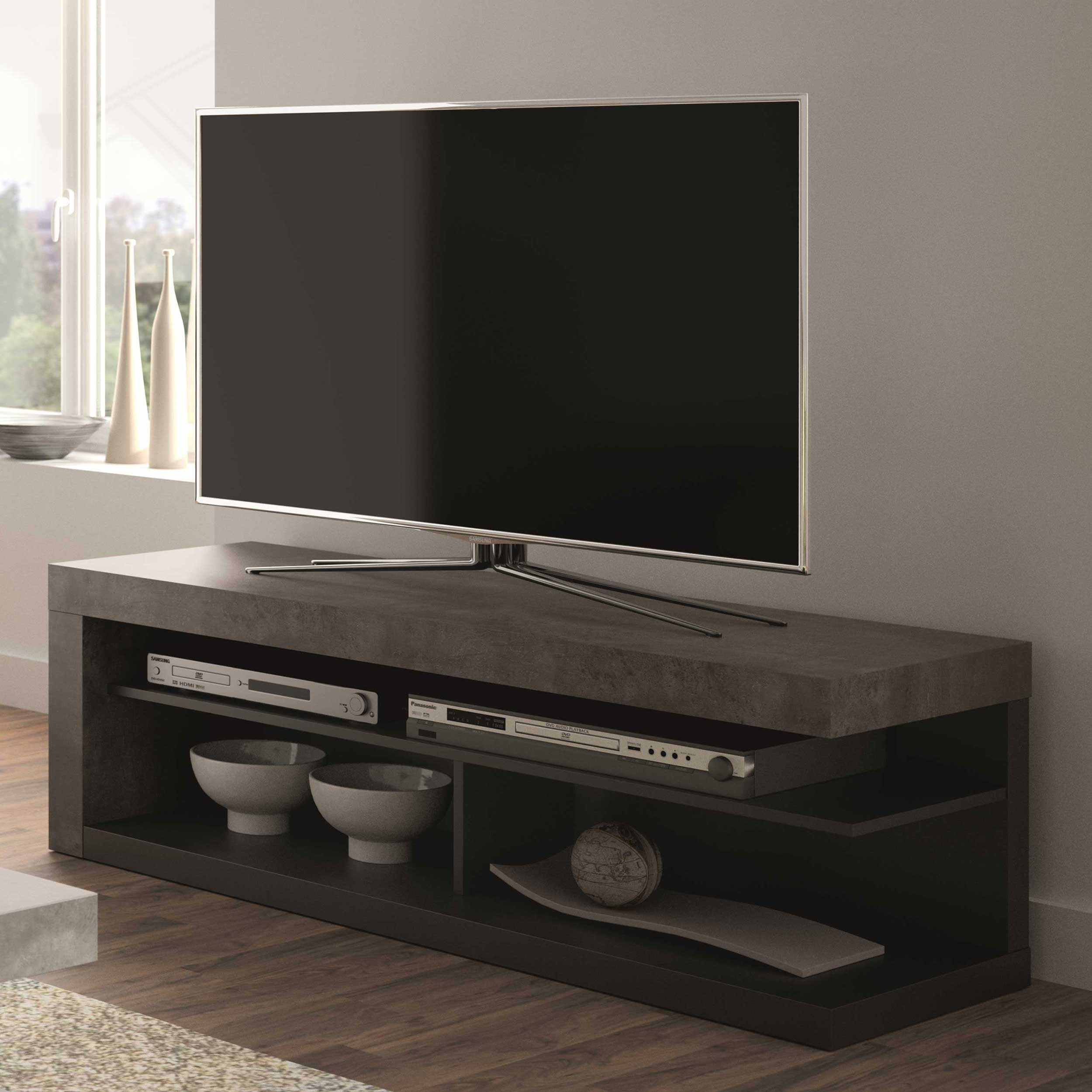 meuble tv delta 130cm beton noir