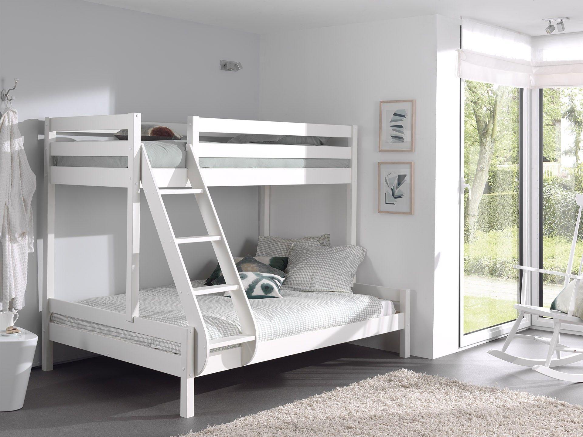 lit superpose triple pour 3 personnes bois blanc