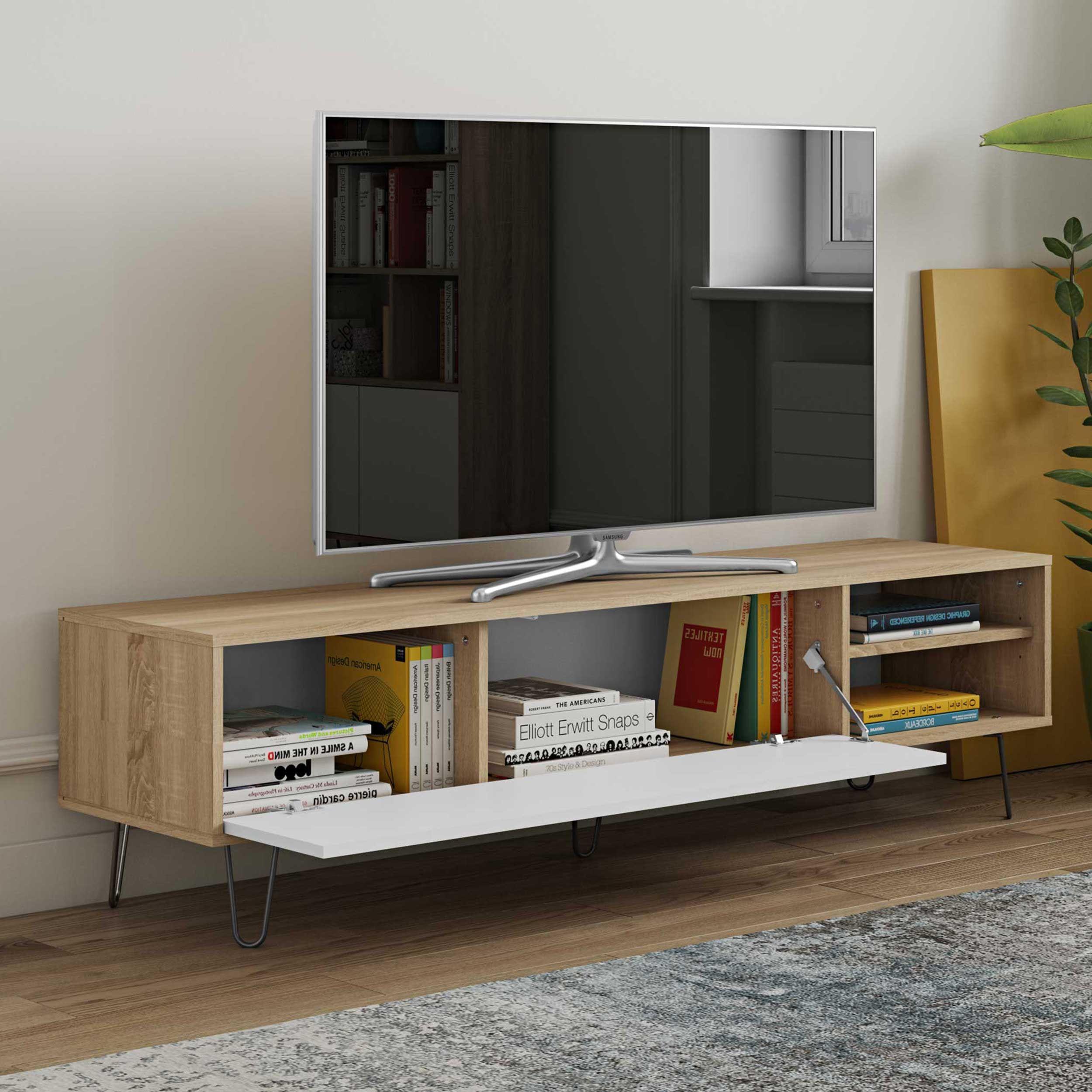 meuble tv jiro 165cm chene blanc