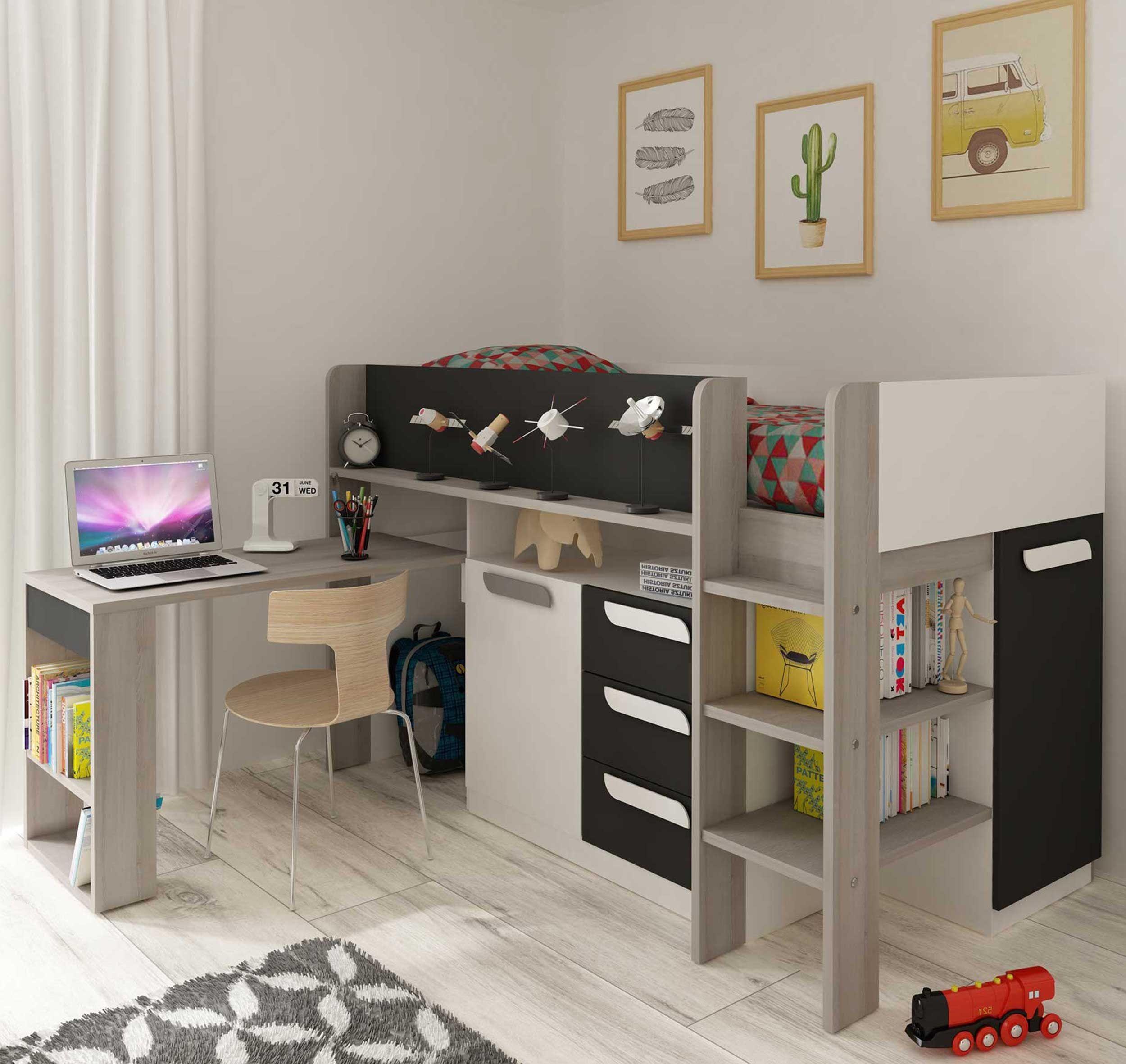 lit combine beau avec bureau graphite