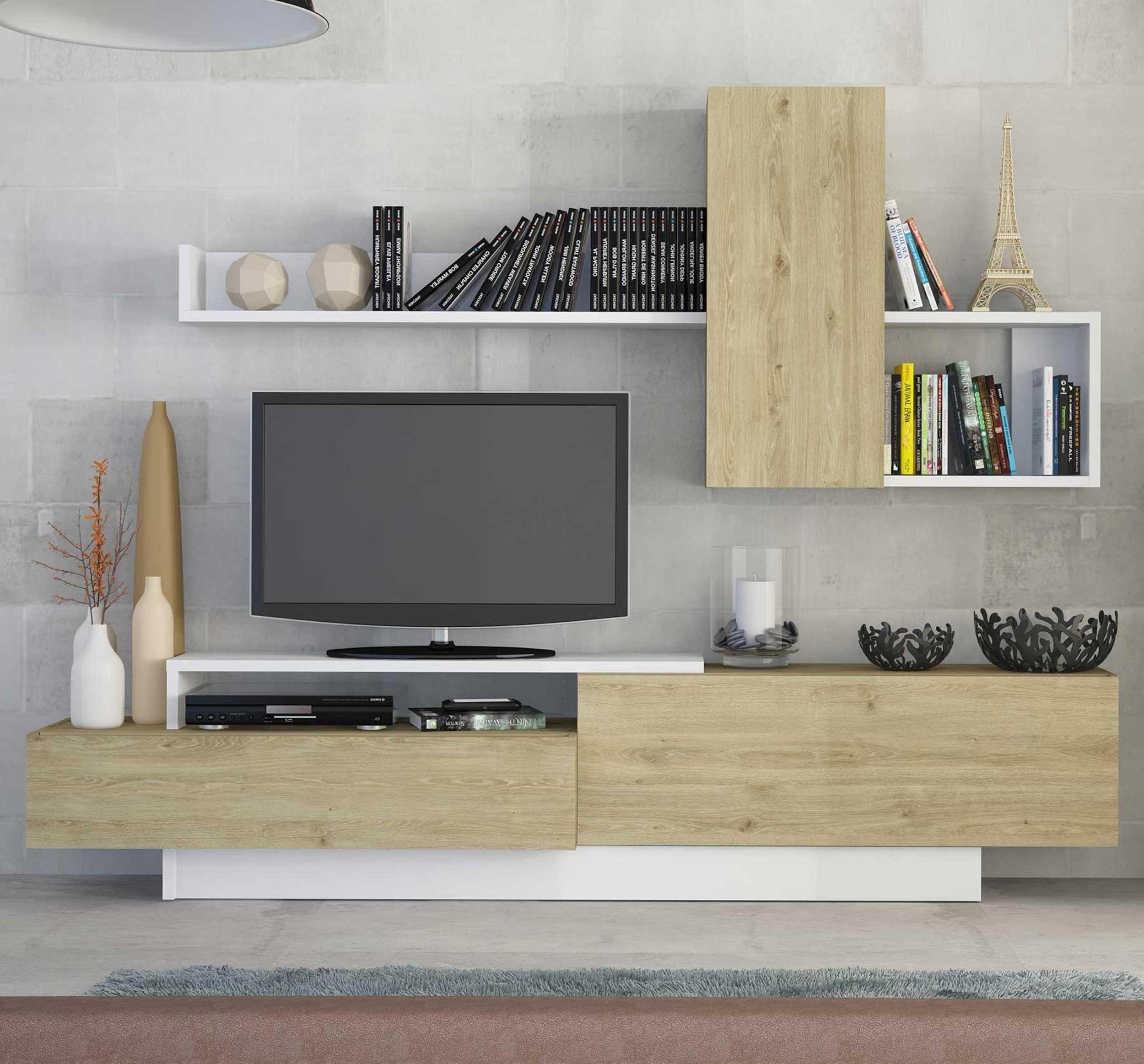 meuble tv cosmit 240cm chene blanc