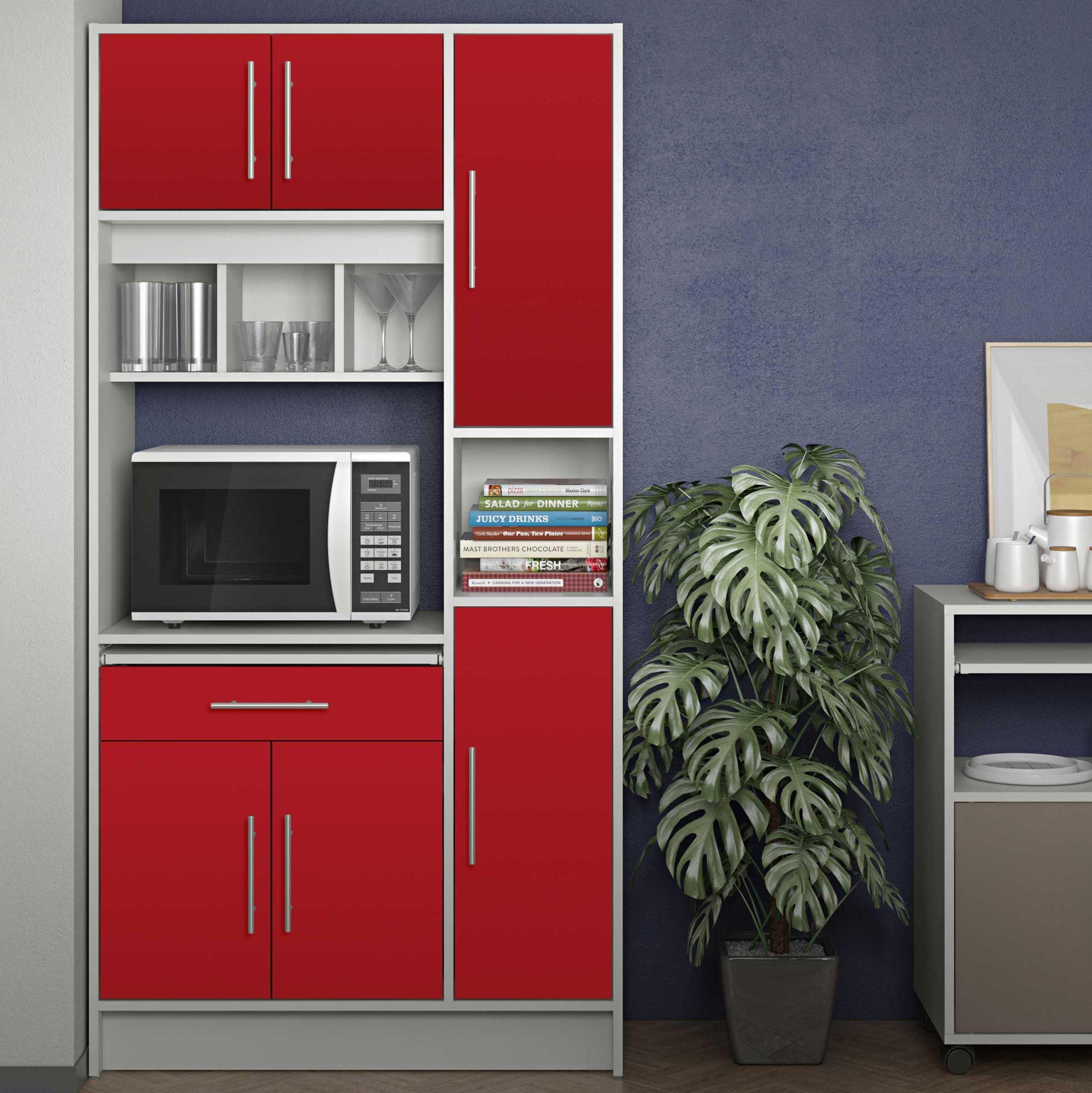 armoire de cuisine louise pour four a micro ondes blanc rouge