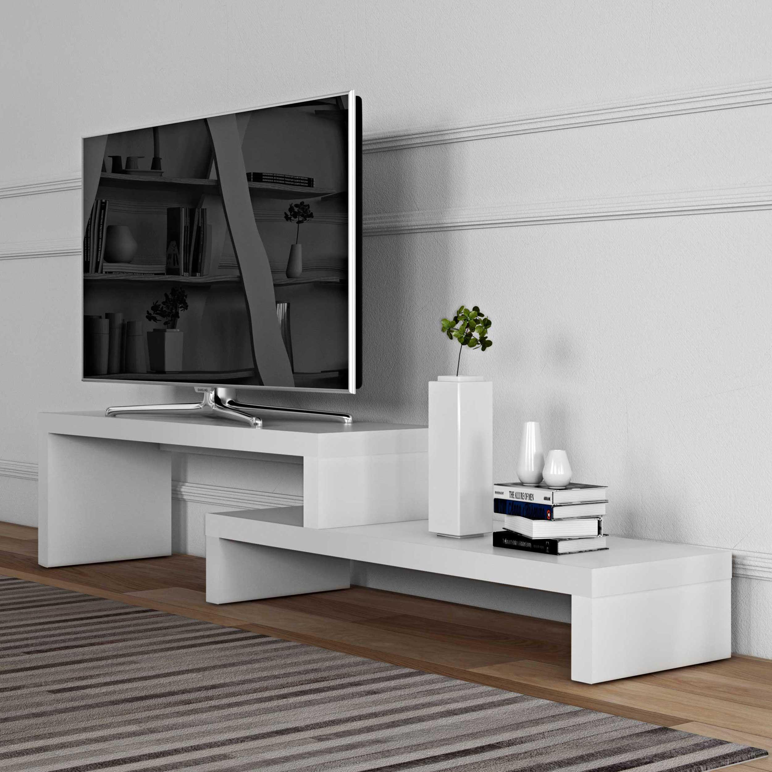 meuble tv cliff 125cm blanc