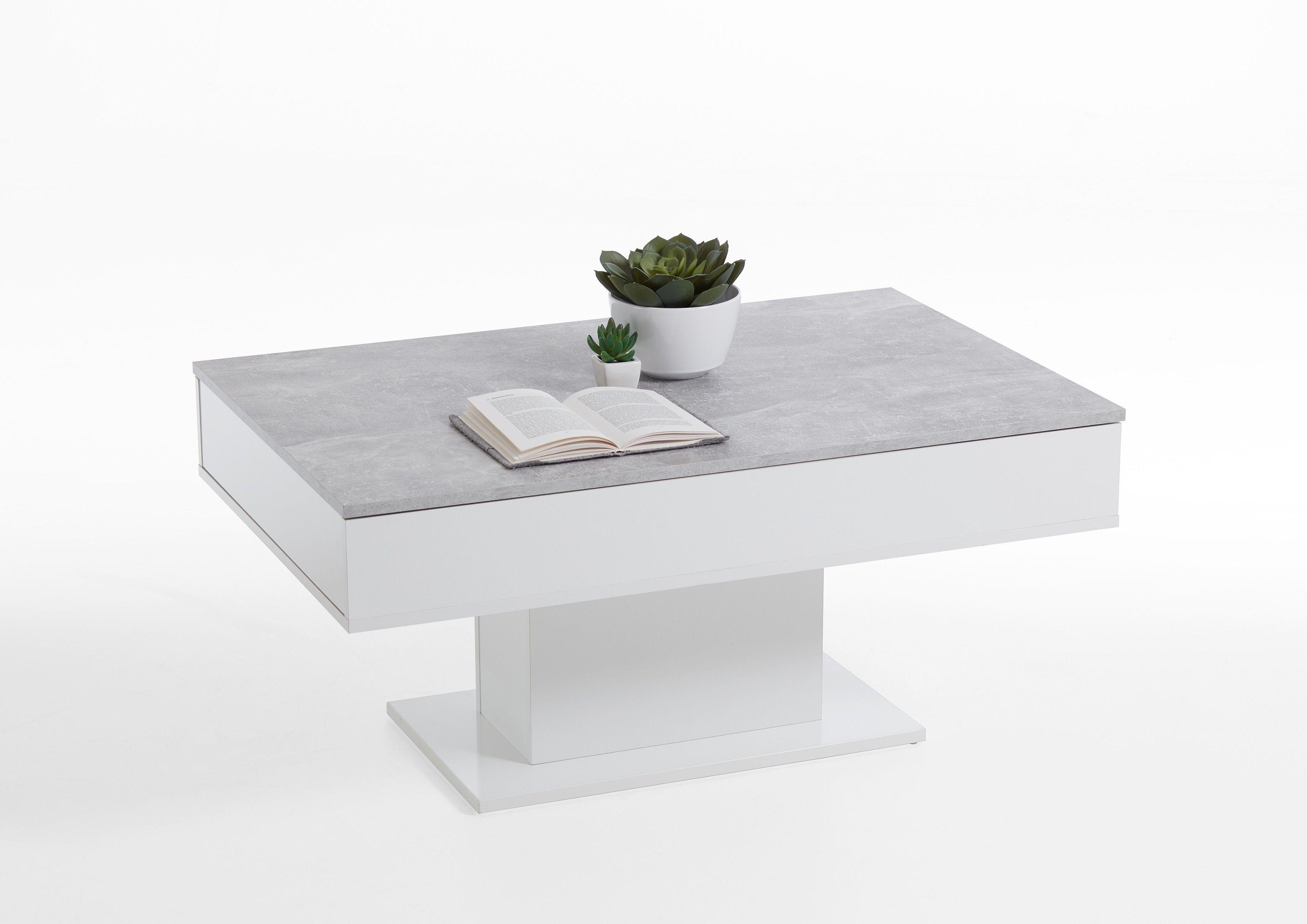 table basse lola 1 tiroir beton blanc brillant