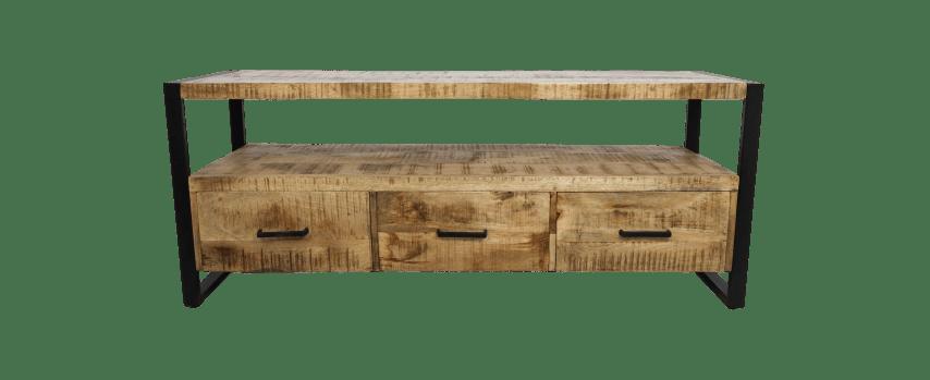 meubles tv havane 150cm 3 tiroirs bois de manguier fer