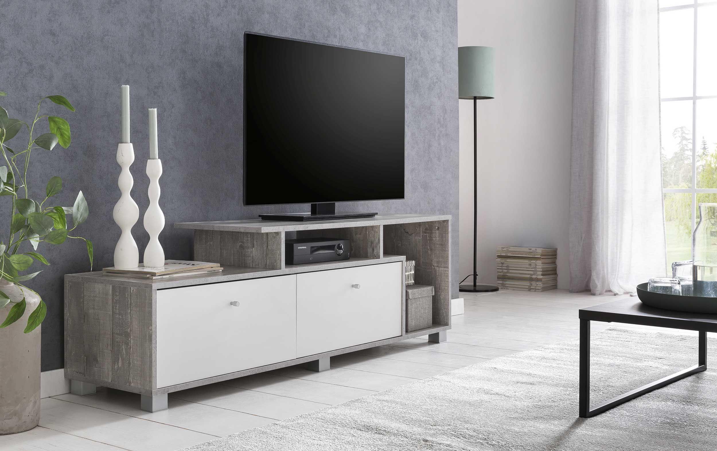 tv lowboard mit 2 fachern und 2 klappen korpus beton dekor front weiss melamin