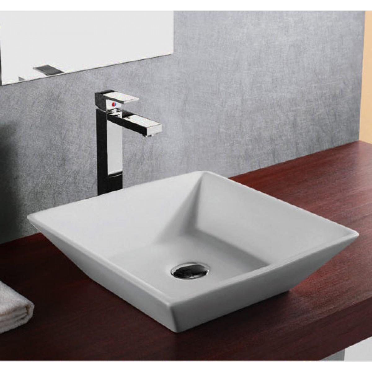 european design slope wall porcelain ceramic countertop bathroom vessel sink 16 x 16 x 4 1 2 inch