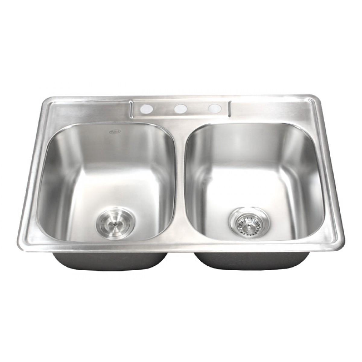 33 inch stainless steel top mount drop in 50 50 double bowl kitchen sink 18 gauge